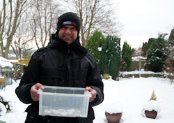 plastic container to make snow bricks