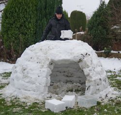 Build your own snow igloo - the final stage of roof