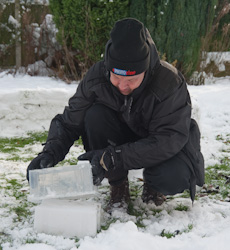 Build your own snow igloo - making a snow brick